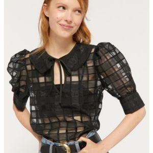UO Checkered Chiffon Puff Sleeve Blouse